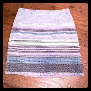 Loft skirt blue and gray multicolored, lined Sz 6p